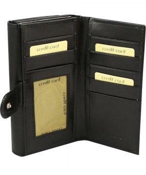 Portafoglio donna nero pelle interno carte di credito e portamonete vera pelle cuoio
