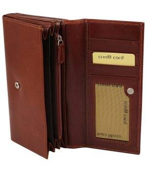 Portafoglio donna marrone pelle interno carte di credito e portamonete vera pelle cuoio