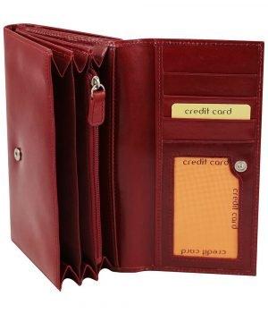 Portafoglio donna rosso pelle interno carte di credito e portamonete vera pelle cuoio
