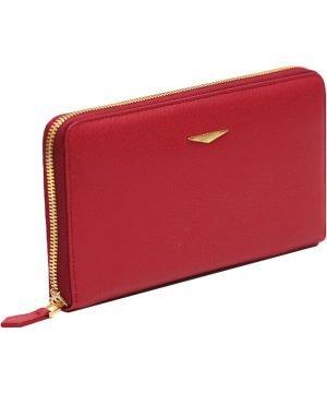 Portafoglio Fantini donna rosso cerniera made in italy portafoglio italiano