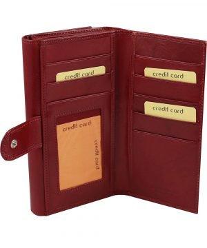 Portafoglio donna rosso pelle interno carte di credito e portamonete