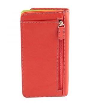 Retro portafoglio pelle donna rosso cerniera portamonete