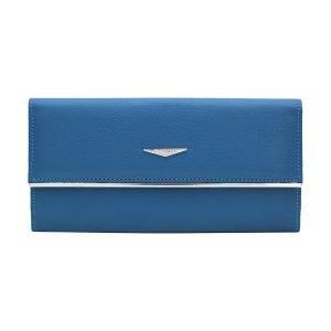 Portafoglio Fantini donna vera pelle azzurro elegante portatessere in pelle Italia