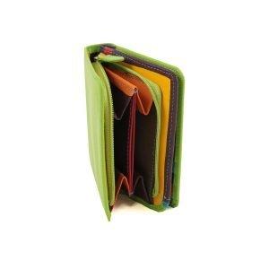 Portafogli piccolo portamonete in pelle multicolore