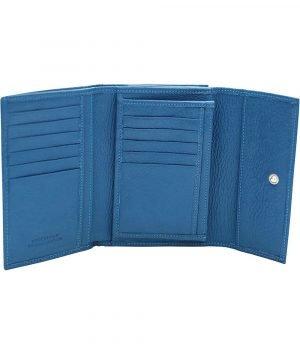 Compartimenti portafoglio donna azzurro vera pelle Made in Italy portafoglio fatto a mano genuine leather