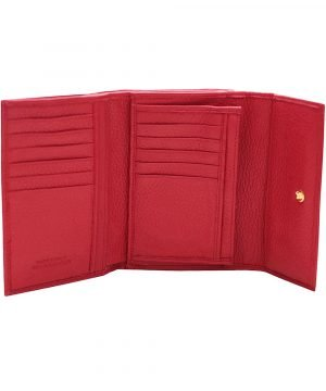 Compartimenti portafoglio donna rosso vera pelle Made in Italy