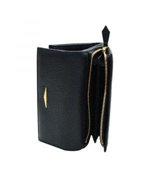 Portafoglio Fantini donna portamonete cerniera vera pelle Made in Italy portafoglio nero Fantini
