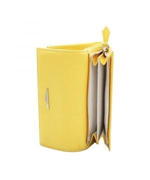 Portafoglio Fantini artigianale donna portamonete cerniera vera pelle Made in Italy portafoglio fatto a mano giallo