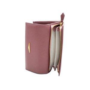 Portafoglio Fantini donna portamonete cerniera vera pelle Made in Italy portafoglio fatto a mano rosa antico
