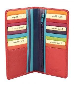 Porta tessere donna pelle multicolore rosso vera pelle cerniera interna compartimenti per carte di credito