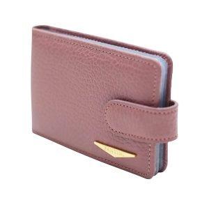 Portatessere donna pelle rosa scuro Fantini alta qualità Made in Italy chiusura bottone portacarte Fantini molti compartimenti