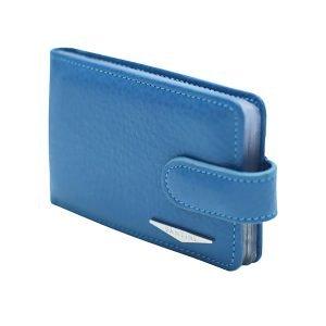 Portatessere donna pelle azzurro Fantini alta qualità Made in Italy chiusura bottone portacarte Fantini molti compartimenti interni