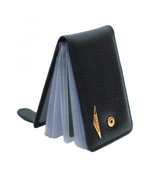 Portatessere donna nero Fantini vera pelle alta qualità Made in Italy chiusura sicura