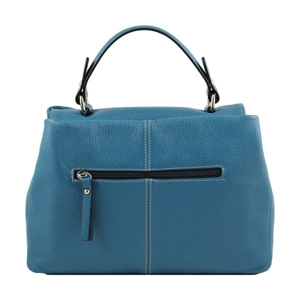 Retro borsa donna Fantini Pelletteria in pelle azzurra manico comodo cerniera esterna Made in Italy