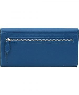 Retro portafoglio donna azzurro pelle portamonete con cerniera esterna compartimenti interni