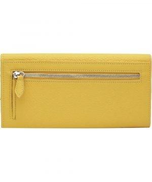 Retro portafoglio donna artigianale giallo pelle portamonete con cerniera esterna