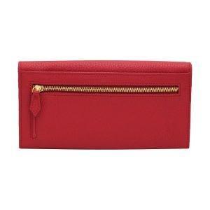 Retro portafoglio donna rosso pelle portamonete con cerniera esterna made in Italy Fantini pelle
