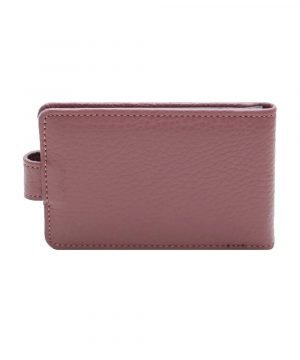 Retro portatessere donna rosa scuro molte carte chiusura bottone sicura Made in Italy