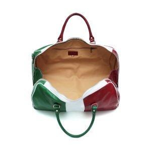 Compartimenti interni borsone bandiera italia in pelle da viaggio tricolore bagaglio a mano in pelle borsa palestra cuoio Made in Italy