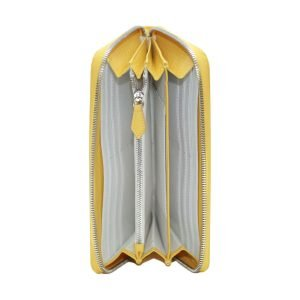 Compartimenti portafoglio donna Fantini chiusura cerniera vera pelle made in italy colore giallo portamonete interno cerniera