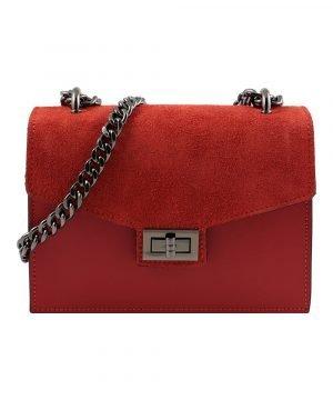 Tracolla da donna in pelle rossa Made in Italy e artigianale.