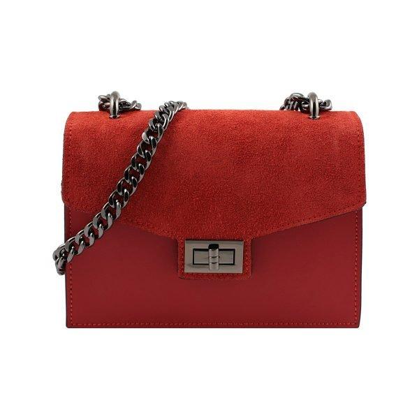 Borsa rossa a tracolla ragazza, borsa con catena piccola in pelle