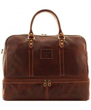 Borsone viaggio pelle giglio bagaglio a mano in pelle con portascarpe doppio fondo