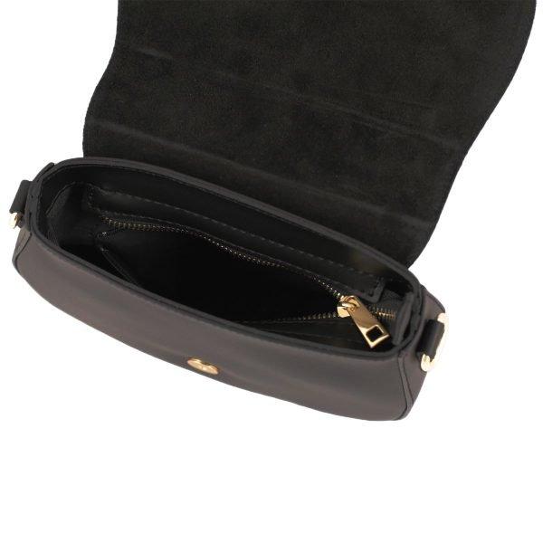 Borsetta a tracolla in pelle nera made in italy scompartimenti