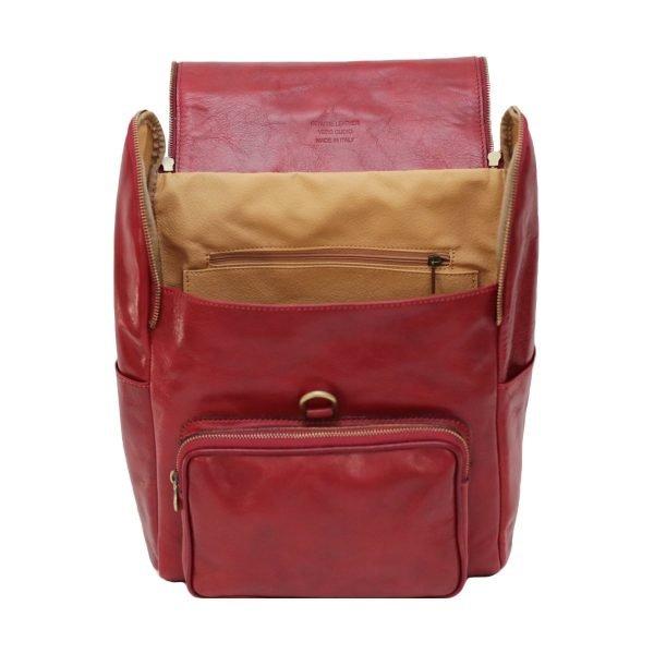 Zaino schienale pelle rosso Made in Italy cuoio firenze tasche interne