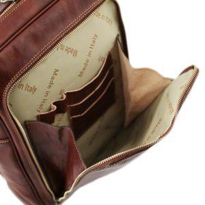 Zaino in cuoio con tasca - zaino tasca frontale - zainetto con tasca davanti