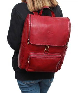Zaino in pelle artigianale rosso Made in Italy zaino donna per lavoro e computer con gancio