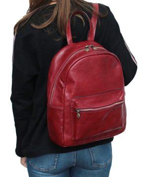 Zaino donna in pelle rosso zaino artigianale Firenze chiusura con cerniera tasca esterna
