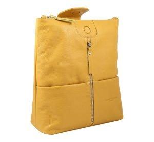 Zaino donna in pelle giallo Fantini Pelletteria Made in Italy
