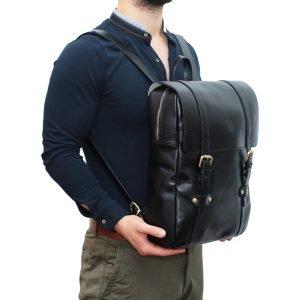 Zaino in cuoio uomo Made in Italy nero zaino per lavoro e computer chiusura cerniera