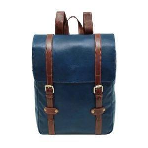 Zaino in cuoio blu e marrone zaino uomo in pelle artigianale firenze Made in Italy