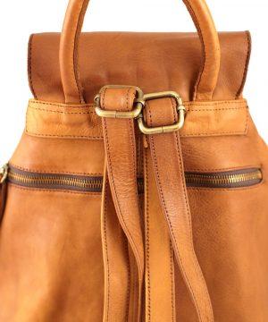Retro zaino in pelle marrone chiaro con tasca esterna