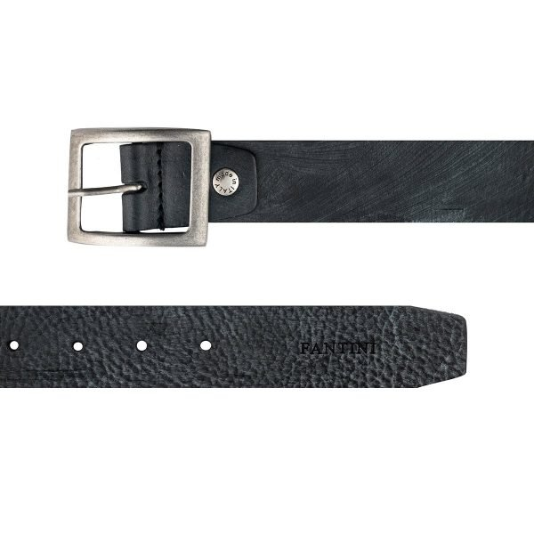 Cintura uomo in pelle nera Made in Italy Fantini