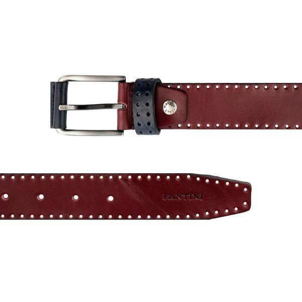 Cintura in pelle bordeaux Fantini Made in Italy fibbia e passante elegante