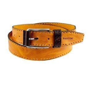 Cintura Fantini in pelle Made in Italy colore Giallo fibbia elegante