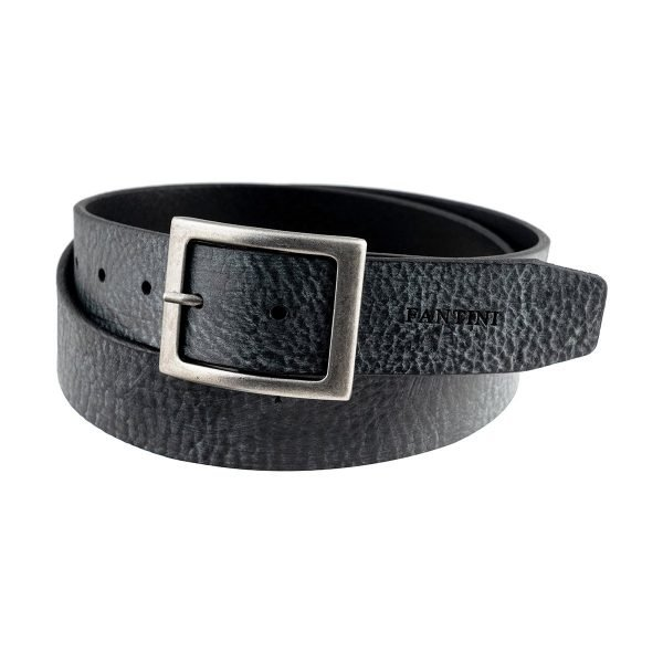 Cintura in pelle nera Fantini Made in Italy fibbia quadrata