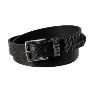 Cintura nera in pelle Made in Italy Fantini