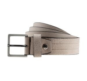 Cintura in pelle Grigia elegante con fibbia quadrata