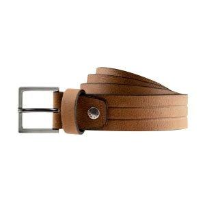Cintura in pelle marrone elegante fibbia quadrata