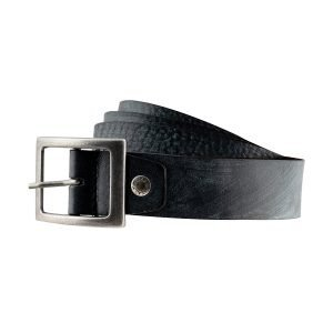 Cintura in pelle nera Fantini con fibbia quadrata