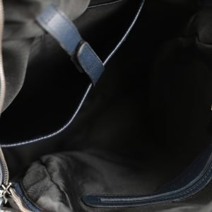 Scompartimenti zaino blu scuro Fantini Pelletteria vera pelle Made in Italy tasche interne