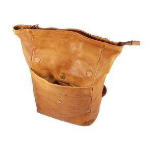 Zaino in pelle marrone chiaro chiusura a cerniera made in italy Fantini Pelletteria zaino viaggio