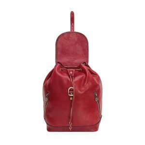Zaino aperto rosso tasca frontale vero cuoio pelle toscana Firenze apertura coulisse Made in Italy