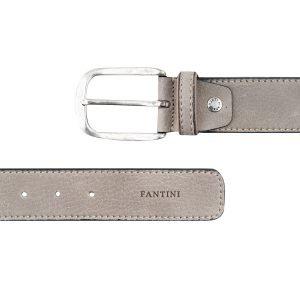 Cintura pelle uomo Fantini grigio chiaro fibbia grande pelle morbida Made in Italy