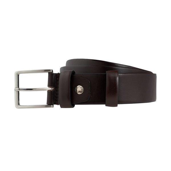 Cintura pelle uomo Fantini larga marrone scuro fibbia quadrata Made in Italy passante in pelle