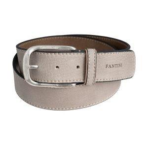Cintura pelle Fantini uomo grigio chiaro fibbia grande pelle morbida Made in Italy